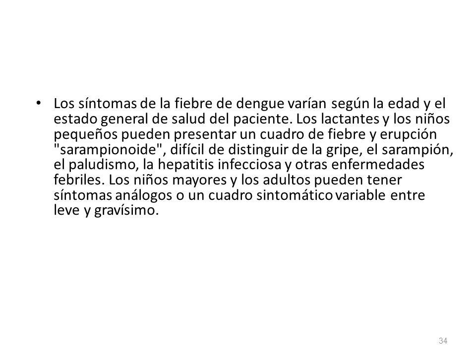 Los síntomas de la fiebre de dengue varían según la edad y el estado general de salud del paciente.