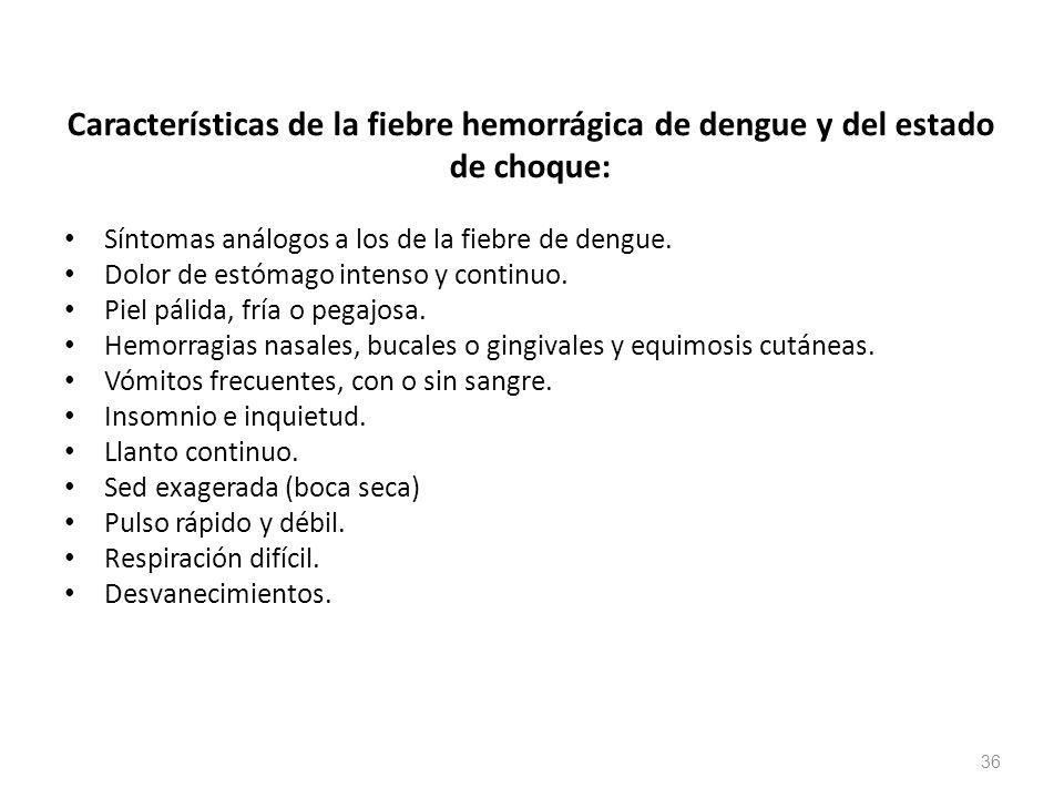 Características de la fiebre hemorrágica de dengue y del estado de choque: