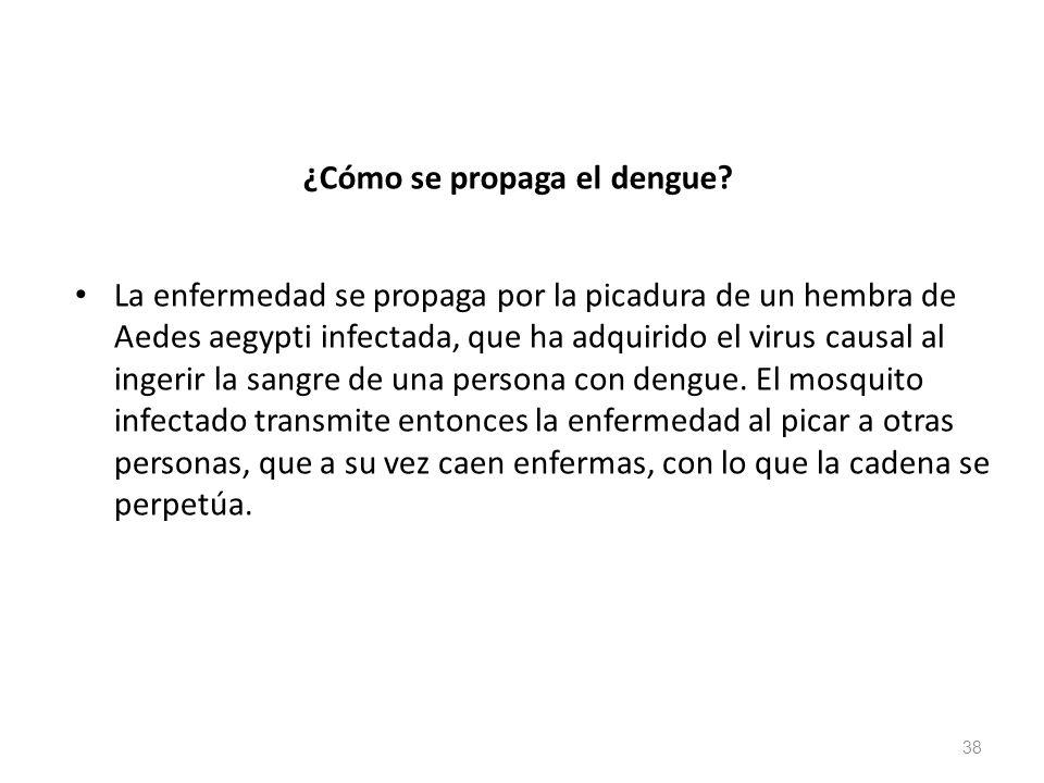¿Cómo se propaga el dengue