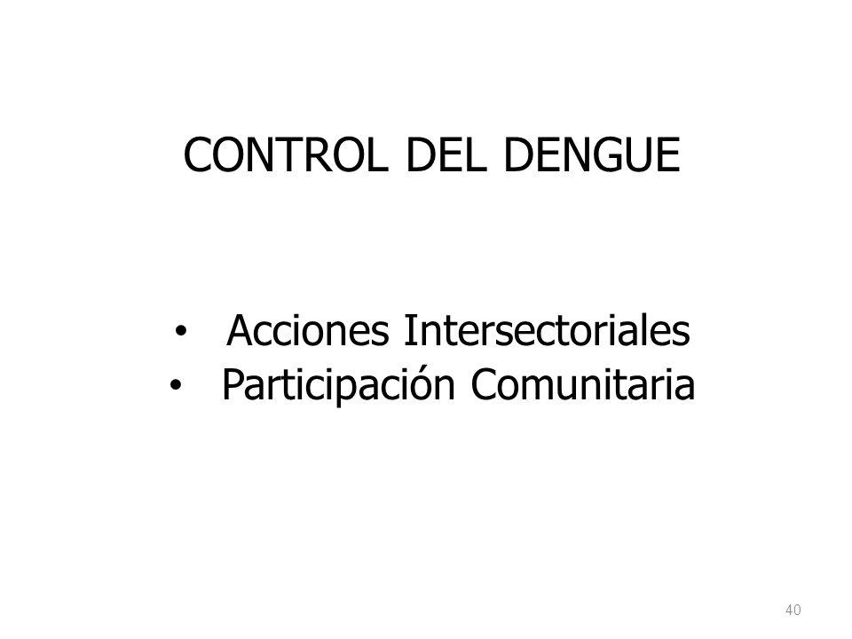 CONTROL DEL DENGUE Acciones Intersectoriales Participación Comunitaria