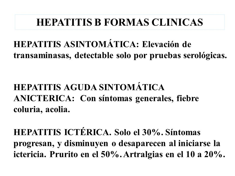 HEPATITIS B FORMAS CLINICAS