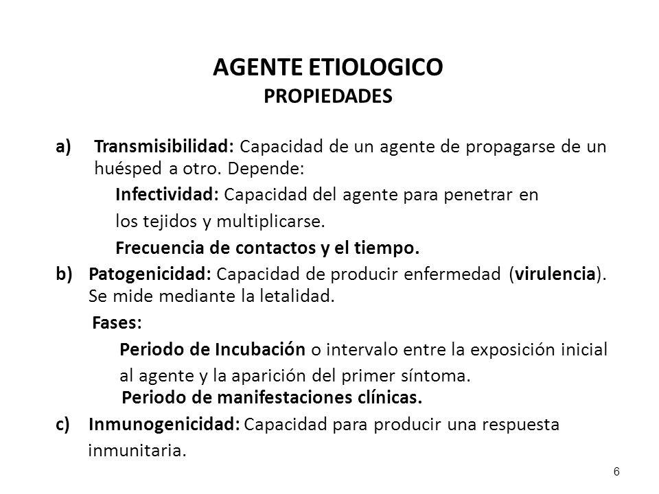 AGENTE ETIOLOGICO PROPIEDADES