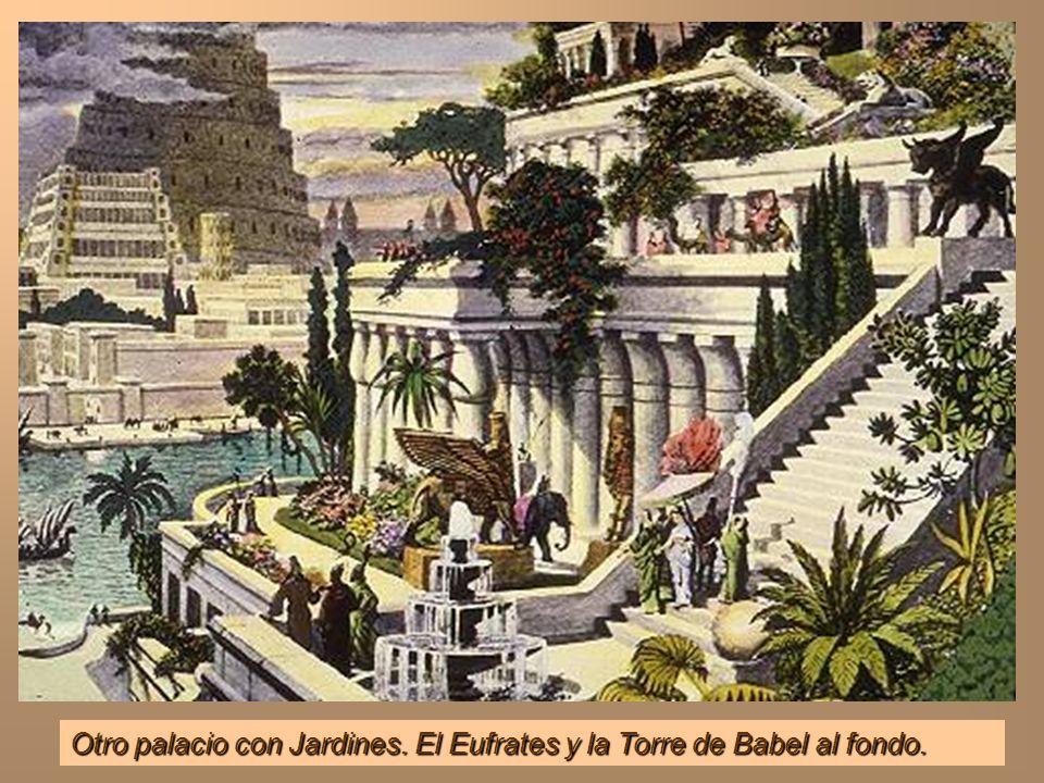 Otro palacio con Jardines. El Eufrates y la Torre de Babel al fondo.