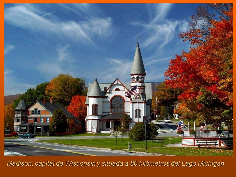 Madison, capital de Wisconsin y situada a 80 kilómetros del Lago Michigan.