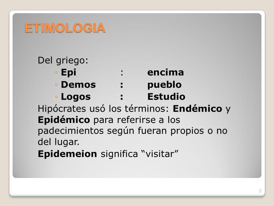 ETIMOLOGIA Del griego: Epi : encima Demos : pueblo Logos : Estudio