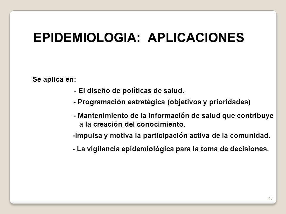 EPIDEMIOLOGIA: APLICACIONES