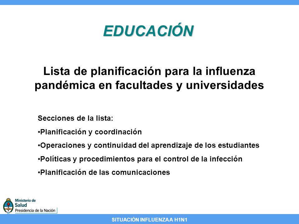 EDUCACIÓN Lista de planificación para la influenza pandémica en facultades y universidades. Secciones de la lista: