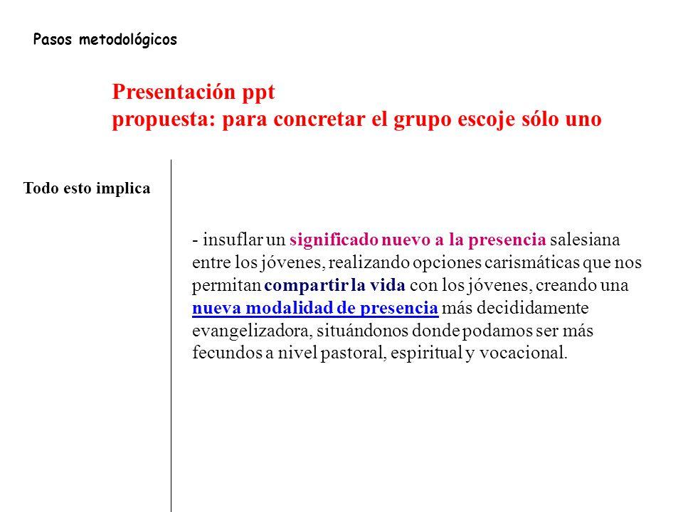 propuesta: para concretar el grupo escoje sólo uno