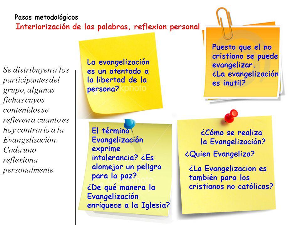 Pasos metodológicos Interiorización de las palabras, reflexion personal. Puesto que el no cristiano se puede evangelizar.
