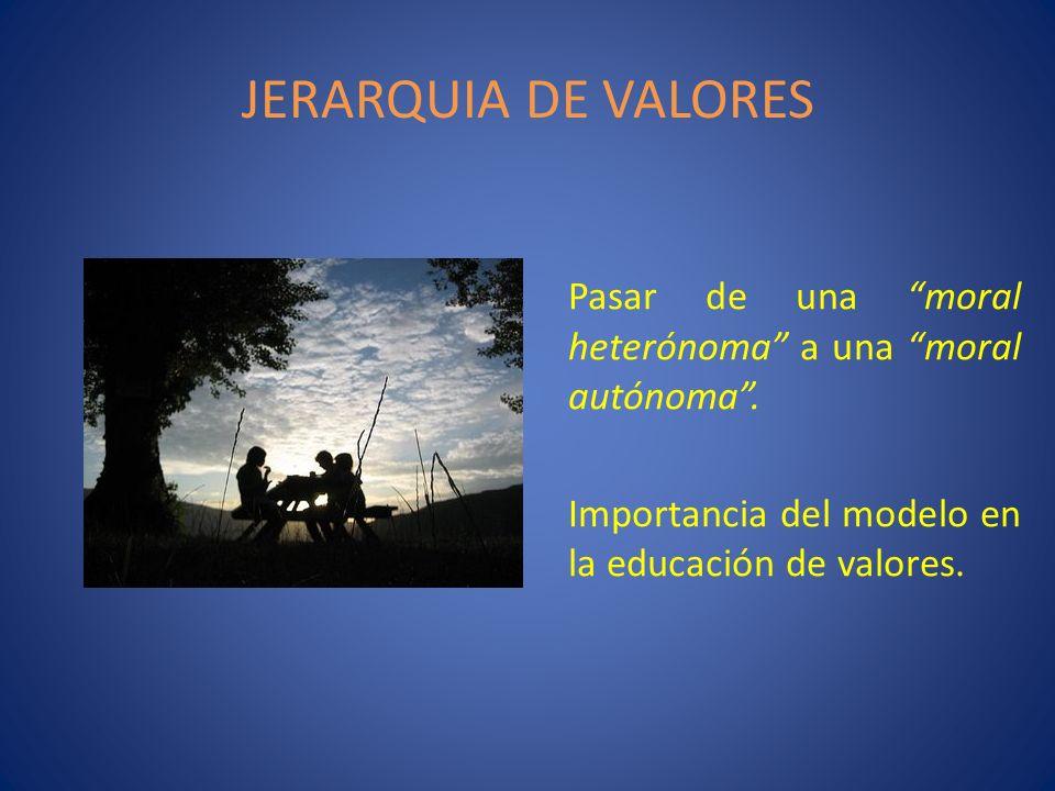 JERARQUIA DE VALORES Pasar de una moral heterónoma a una moral autónoma .