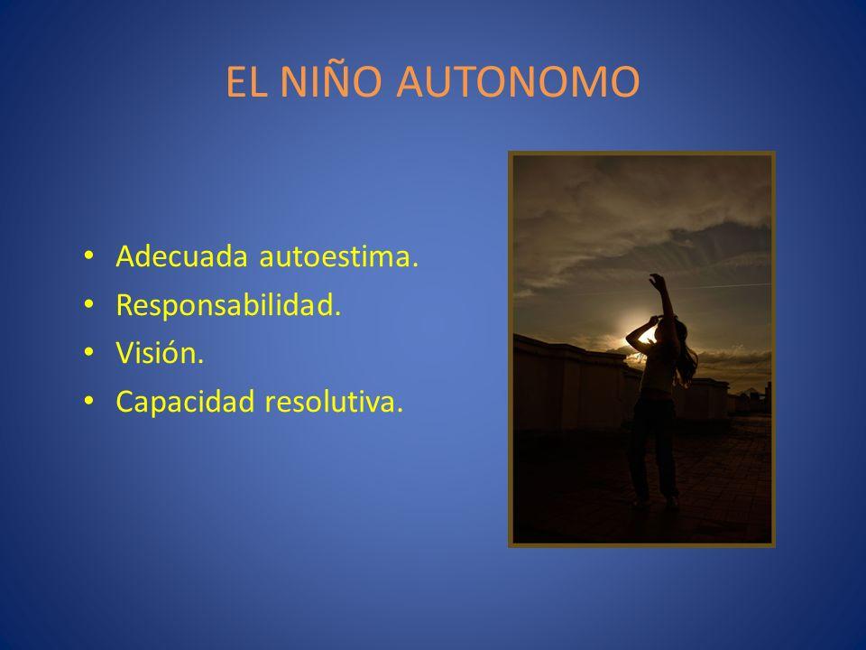 EL NIÑO AUTONOMO Adecuada autoestima. Responsabilidad. Visión.