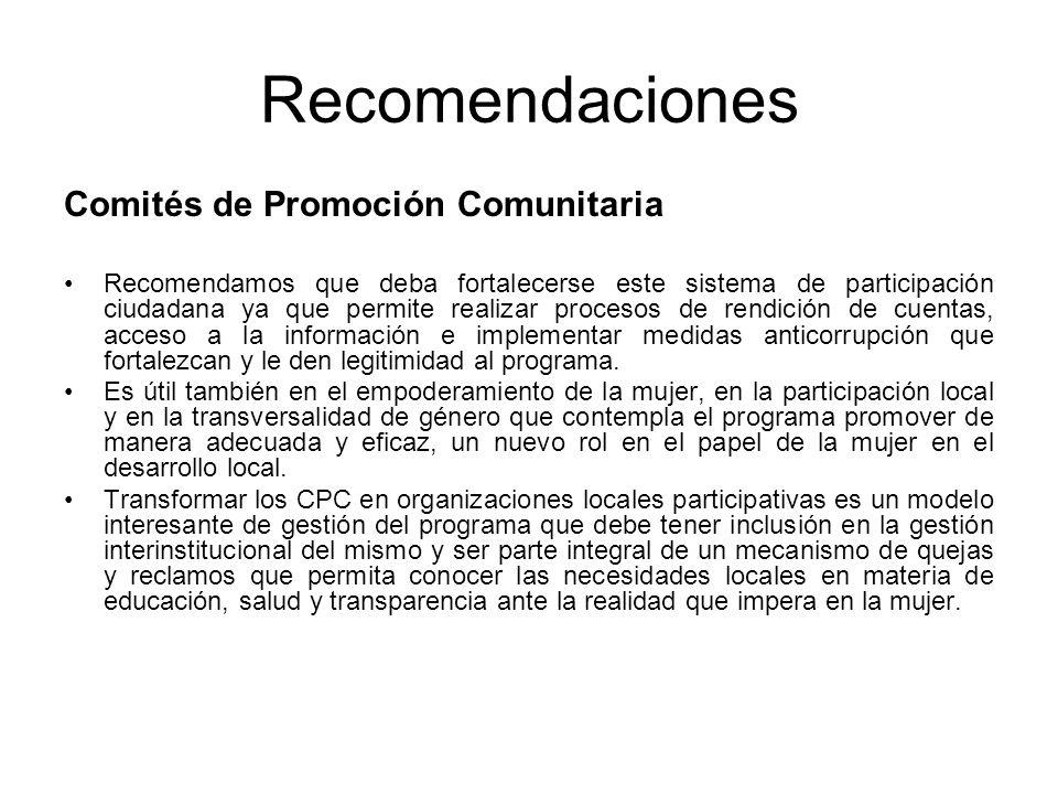Recomendaciones Comités de Promoción Comunitaria