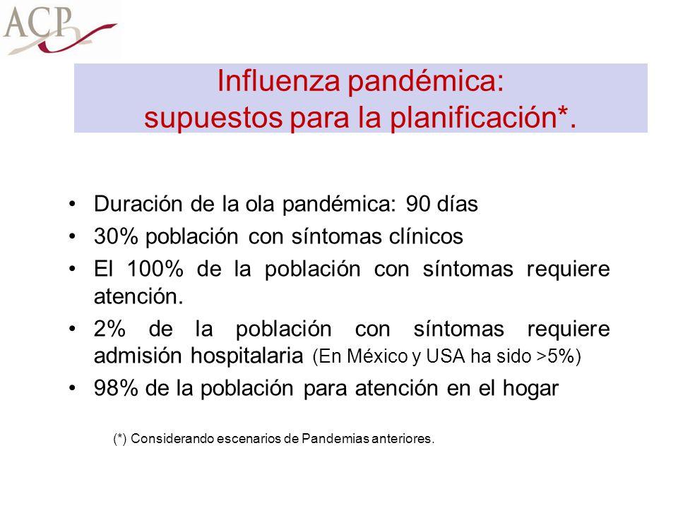 Influenza pandémica: supuestos para la planificación*.