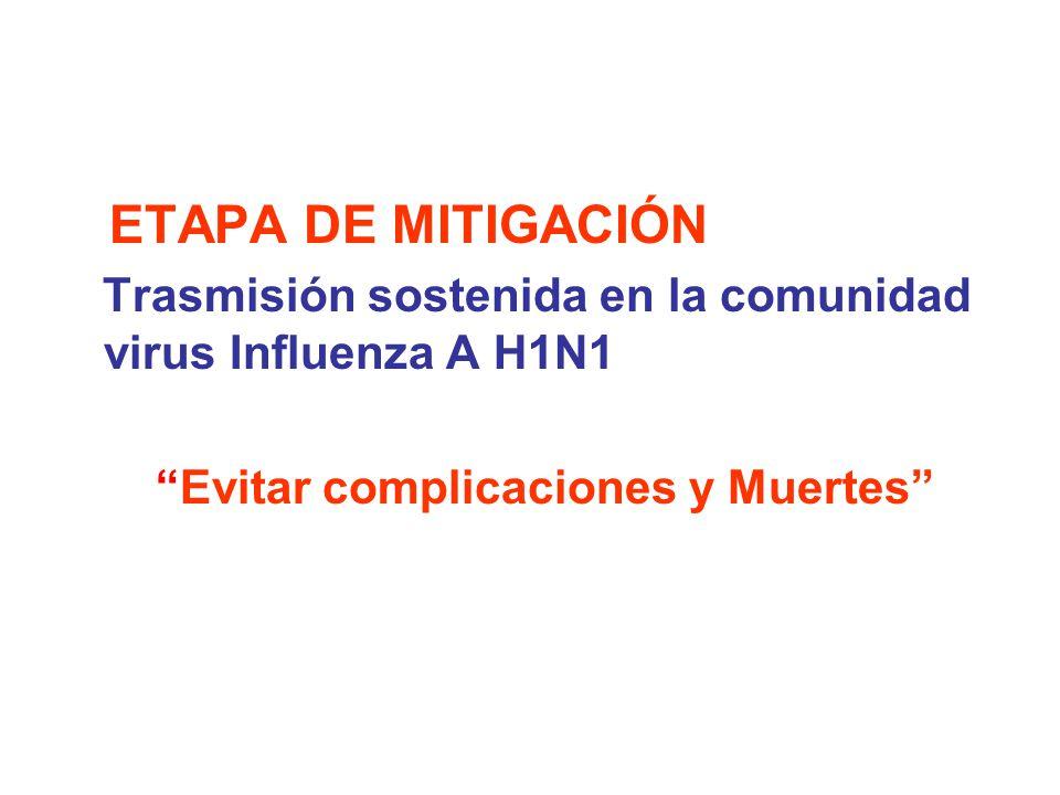 Trasmisión sostenida en la comunidad virus Influenza A H1N1