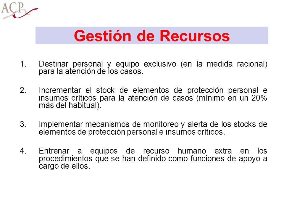 Gestión de Recursos Destinar personal y equipo exclusivo (en la medida racional) para la atención de los casos.