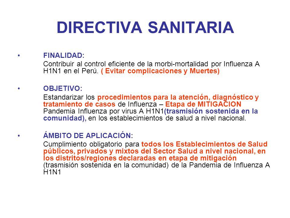 DIRECTIVA SANITARIA FINALIDAD: