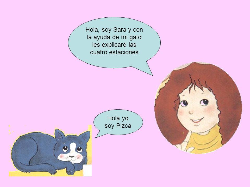 Hola, soy Sara y con la ayuda de mi gato les explicaré las cuatro estaciones