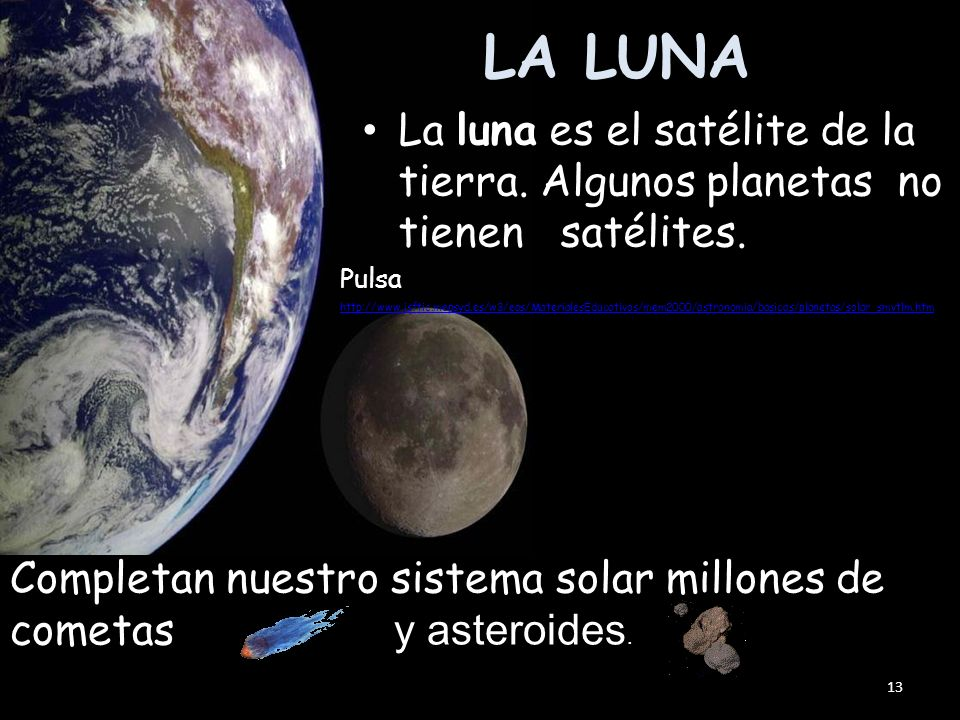 LA LUNA La luna es el satélite de la tierra. Algunos planetas no tienen satélites.