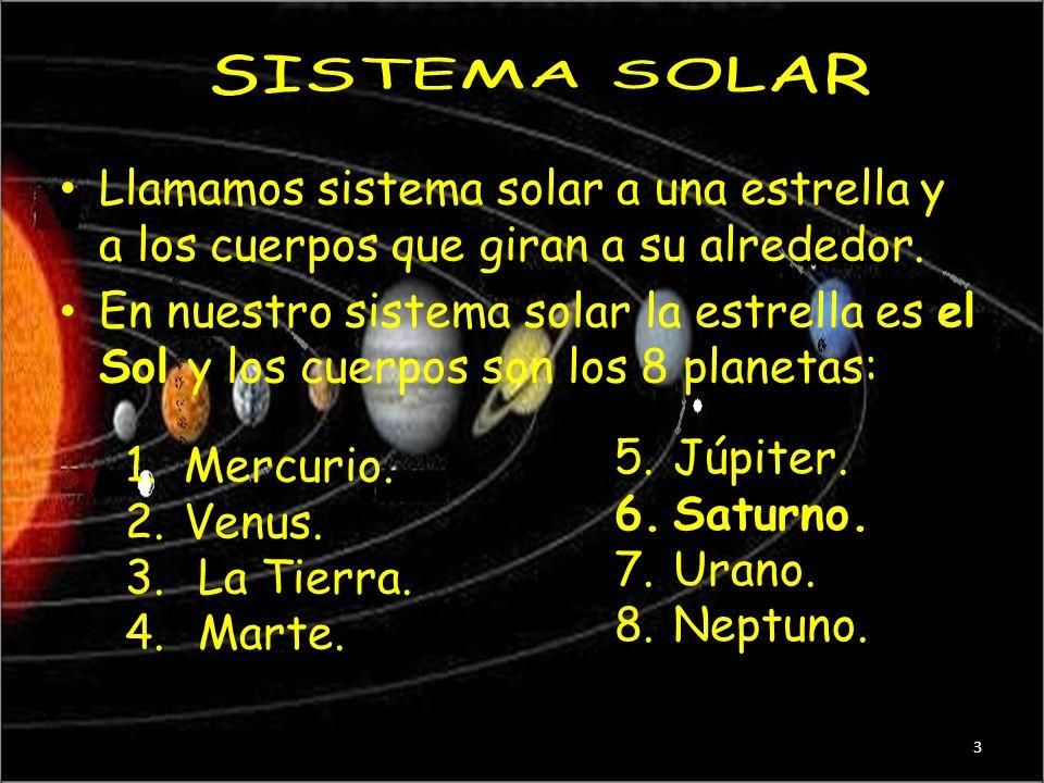 SISTEMA SOLAR Llamamos sistema solar a una estrella y a los cuerpos que giran a su alrededor.