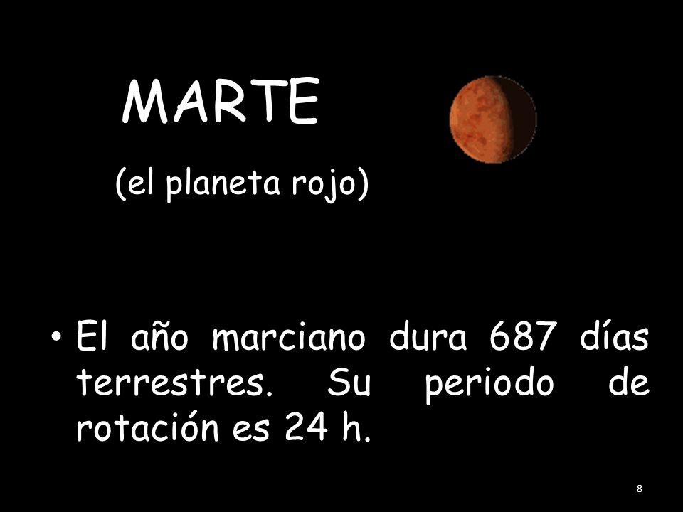MARTE (el planeta rojo) El año marciano dura 687 días terrestres. Su periodo de rotación es 24 h.