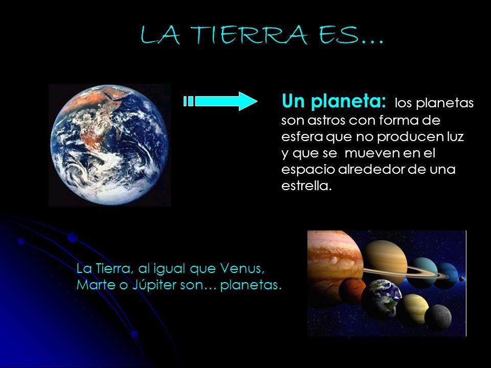 LA TIERRA ES… Un planeta: los planetas son astros con forma de