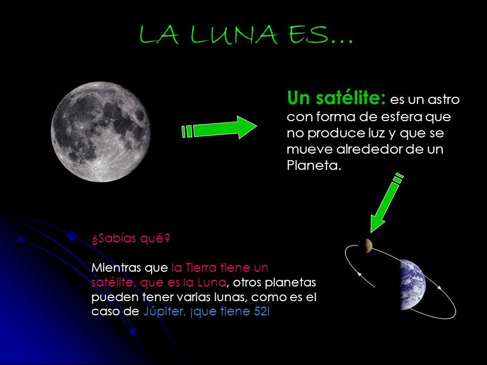 LA LUNA ES… Un satélite: es un astro con forma de esfera que