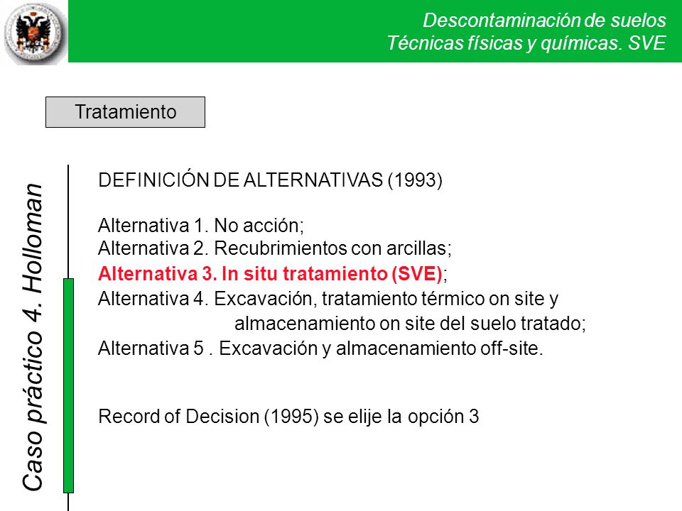4. Holloman Tratamiento DEFINICIÓN DE ALTERNATIVAS (1993)