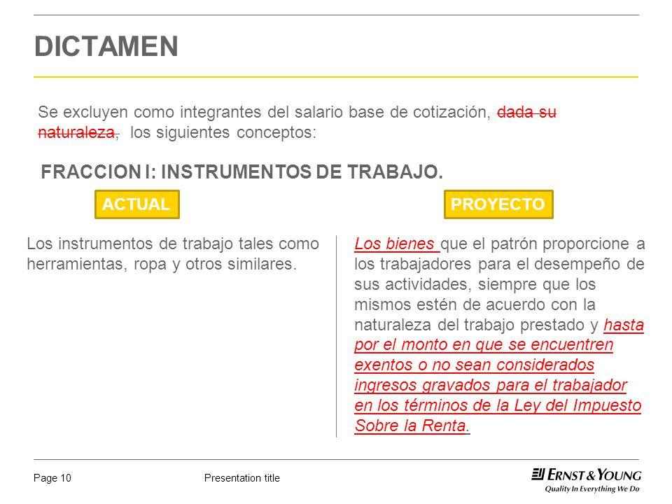 DICTAMEN FRACCION I: INSTRUMENTOS DE TRABAJO.