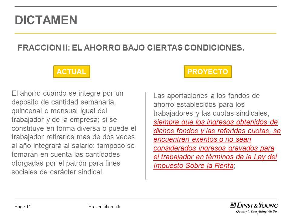 DICTAMEN FRACCION II: EL AHORRO BAJO CIERTAS CONDICIONES. ACTUAL
