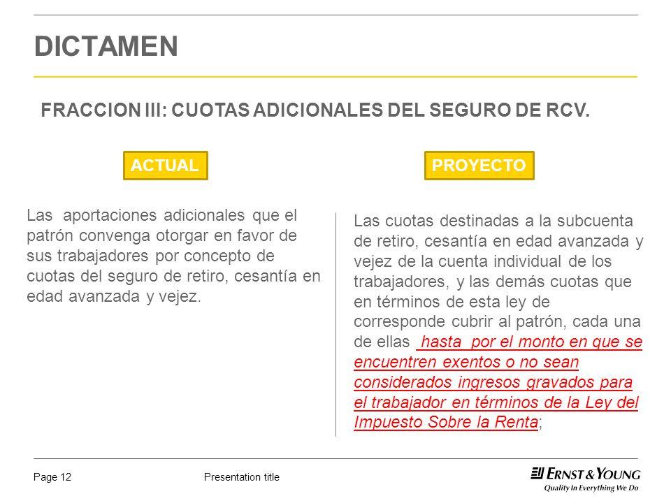 DICTAMEN FRACCION III: CUOTAS ADICIONALES DEL SEGURO DE RCV. ACTUAL