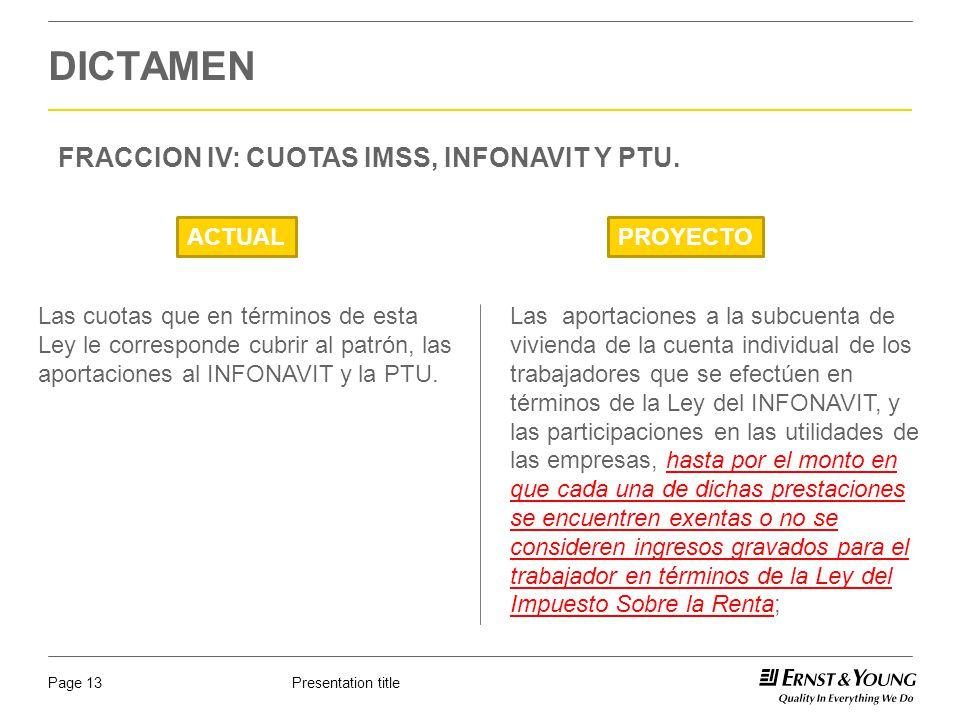 DICTAMEN FRACCION IV: CUOTAS IMSS, INFONAVIT Y PTU. ACTUAL PROYECTO