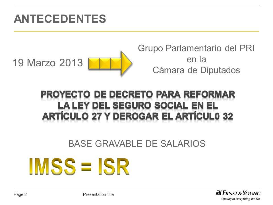 IMSS = ISR ANTECEDENTES 19 Marzo 2013