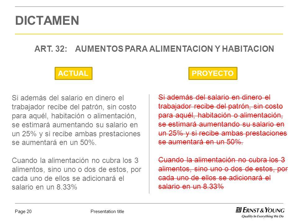 DICTAMEN ART. 32: AUMENTOS PARA ALIMENTACION Y HABITACION ACTUAL
