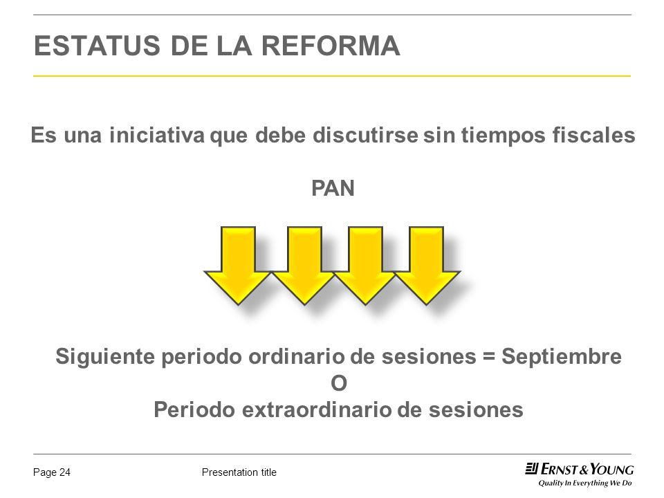 ESTATUS DE LA REFORMA Es una iniciativa que debe discutirse sin tiempos fiscales. PAN. Siguiente periodo ordinario de sesiones = Septiembre.