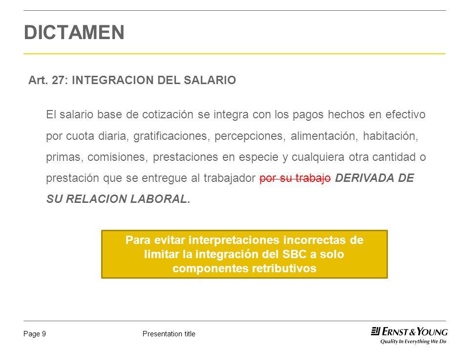 DICTAMEN Art. 27: INTEGRACION DEL SALARIO