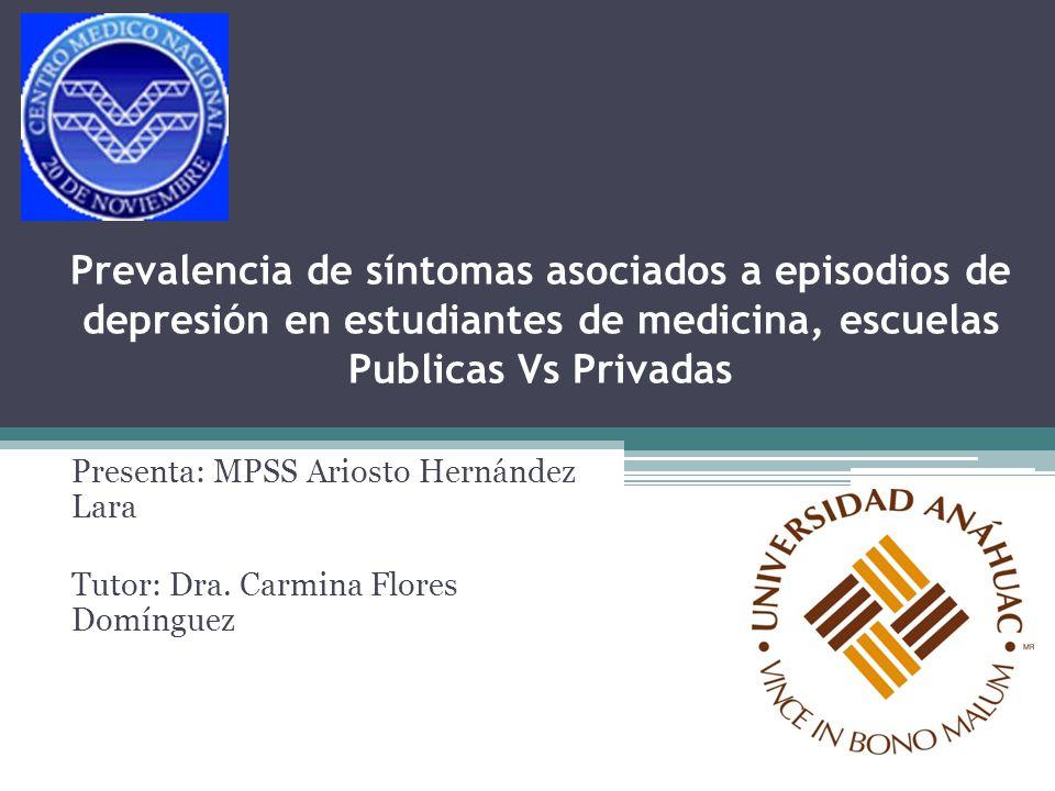 Prevalencia de síntomas asociados a episodios de depresión en estudiantes de medicina, escuelas Publicas Vs Privadas