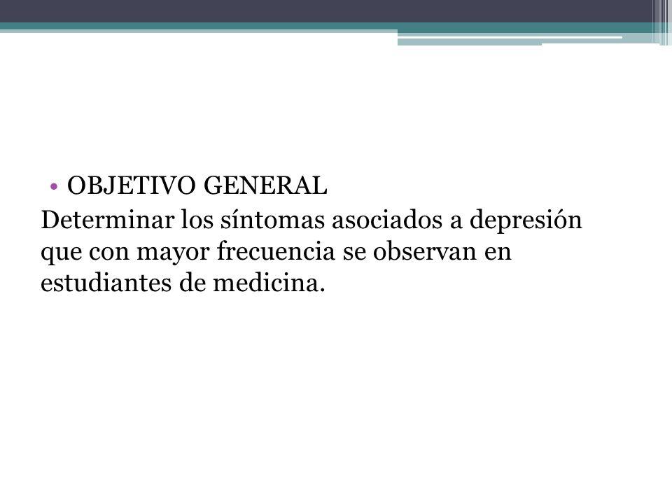 OBJETIVO GENERAL Determinar los síntomas asociados a depresión que con mayor frecuencia se observan en estudiantes de medicina.