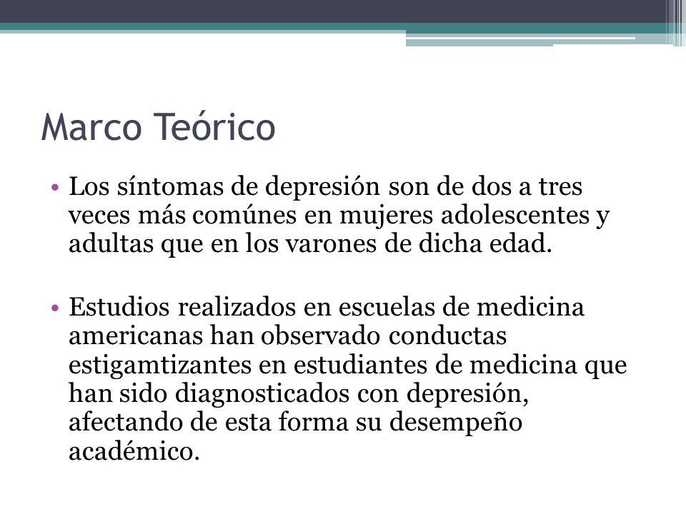 Marco Teórico Los síntomas de depresión son de dos a tres veces más comúnes en mujeres adolescentes y adultas que en los varones de dicha edad.