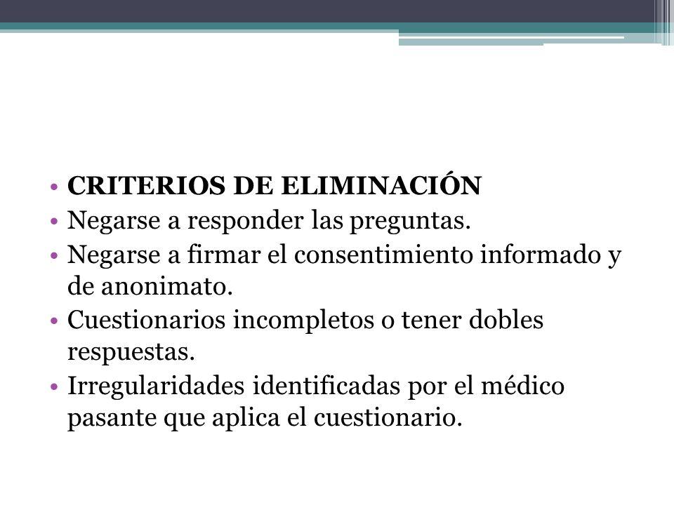 CRITERIOS DE ELIMINACIÓN