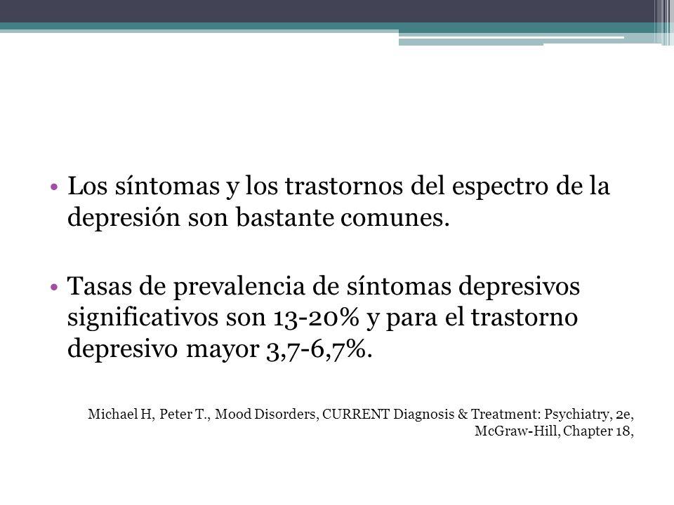 Los síntomas y los trastornos del espectro de la depresión son bastante comunes.