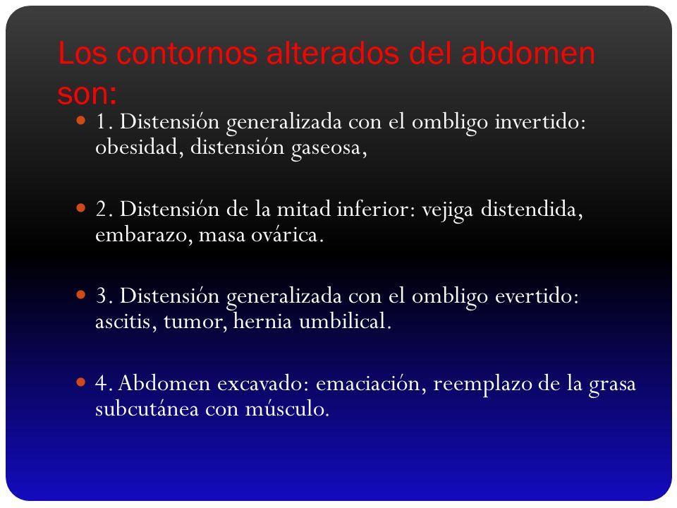 Los contornos alterados del abdomen son: