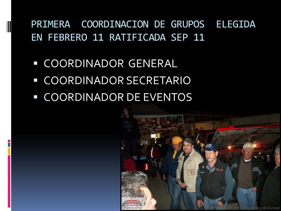 PRIMERA COORDINACION DE GRUPOS ELEGIDA EN FEBRERO 11 RATIFICADA SEP 11