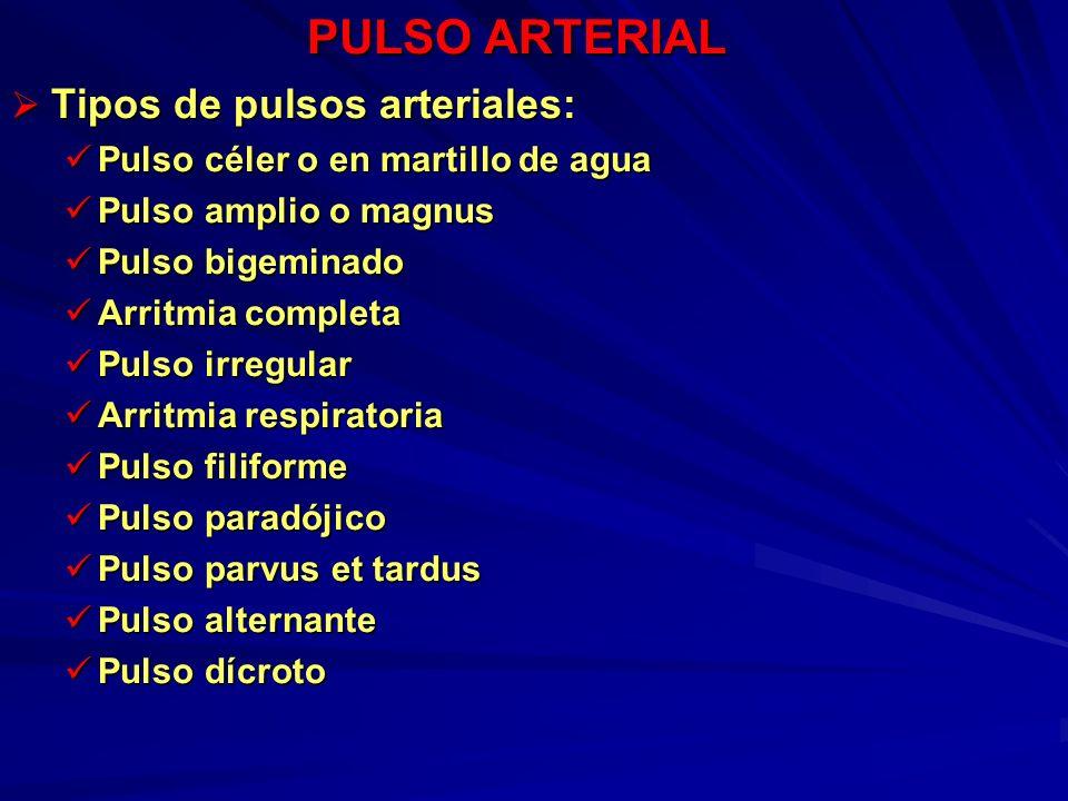 PULSO ARTERIAL Tipos de pulsos arteriales: