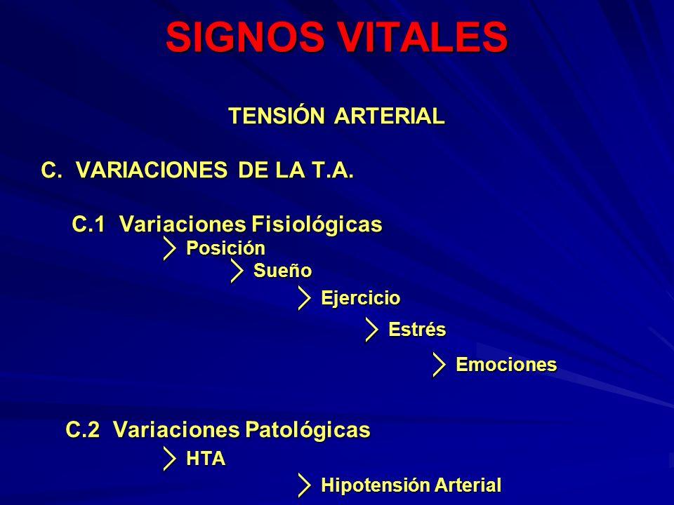 SIGNOS VITALES TENSIÓN ARTERIAL C. VARIACIONES DE LA T.A.