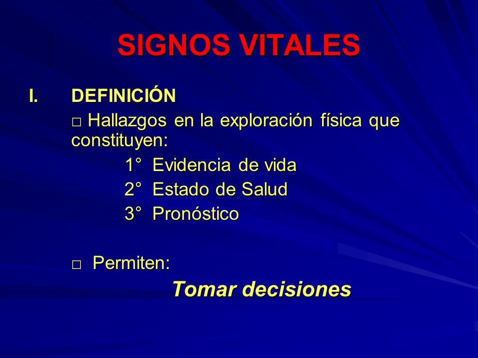 SIGNOS VITALES I. DEFINICIÓN