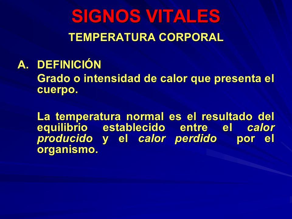 SIGNOS VITALES TEMPERATURA CORPORAL A. DEFINICIÓN