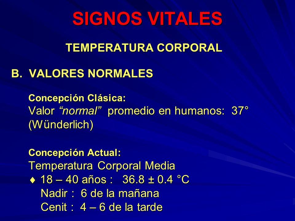 SIGNOS VITALES TEMPERATURA CORPORAL B. VALORES NORMALES (Wünderlich)