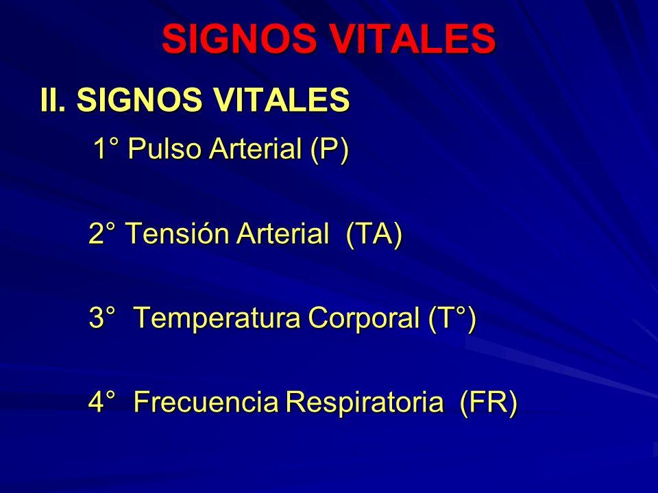 SIGNOS VITALES II. SIGNOS VITALES 1° Pulso Arterial (P)
