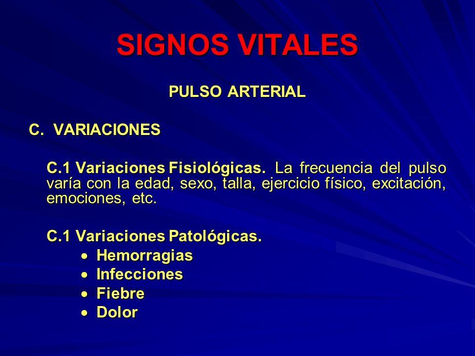 SIGNOS VITALES PULSO ARTERIAL C. VARIACIONES