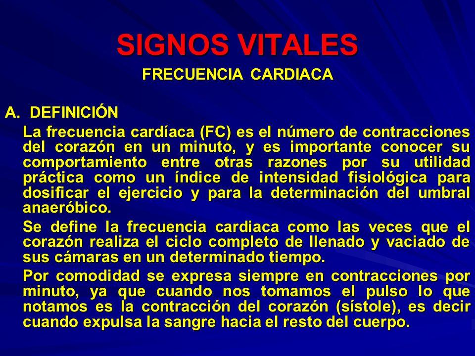 SIGNOS VITALES FRECUENCIA CARDIACA A. DEFINICIÓN